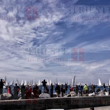 La partenza della Barcolana, vista dal porticciolo di Barcola