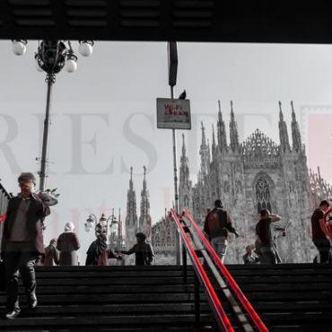 Duomo di Milano bianconero e rosso