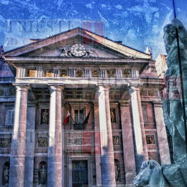 """Un'immagine fotografica ma in stile """"pittorico"""" della Borsa di Trieste"""